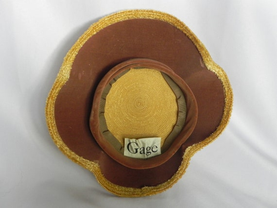 1940's or 50's Natural Straw Wavy Platter Hat, Wi… - image 7