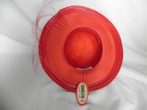 Vintage NWT Red Straw Wide Brim Fancy Hat Derby H… - image 6