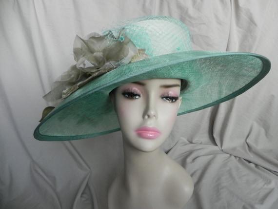 Aqua Blue Wide Brimmed Straw Derby Hat, Dress Hat,
