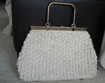 1960's Ivory Raffia Straw Weave Handbag with Bronze Color Frame and Handle