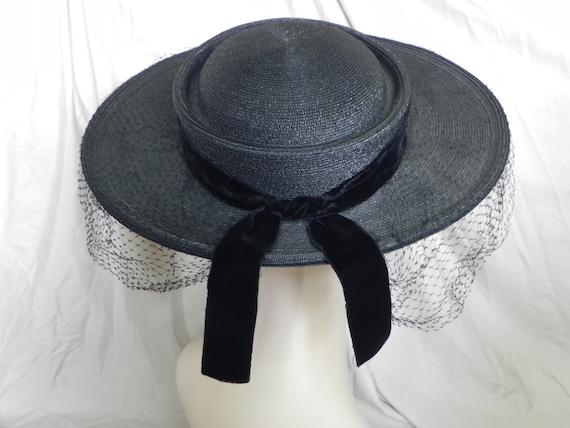 1940's Black Roberta Bernays Original Straw Hat W… - image 3