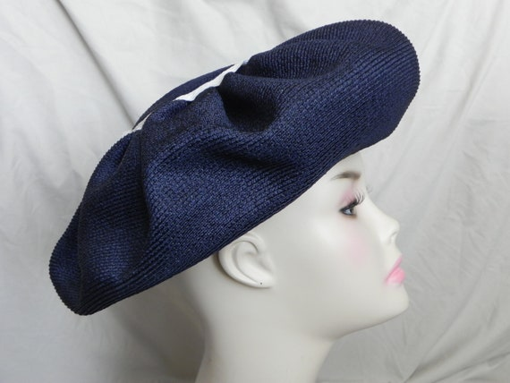 Navy Blue Vintage Straw Cello Weave Platter Hat To