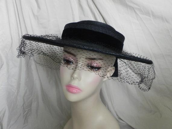 1940's Black Roberta Bernays Original Straw Hat Wi