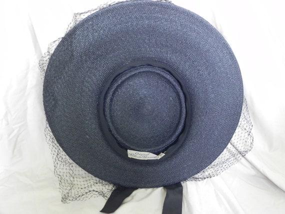 1940's Black Roberta Bernays Original Straw Hat W… - image 5