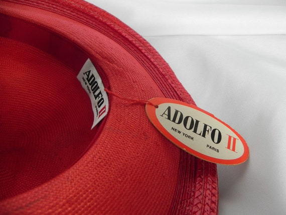 Vintage NWT Red Straw Wide Brim Fancy Hat Derby H… - image 9