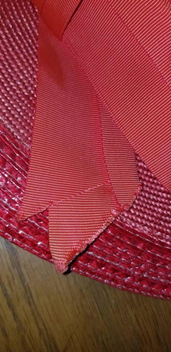 Vintage NWT Red Straw Wide Brim Fancy Hat Derby H… - image 10