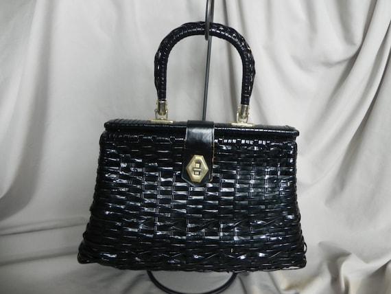 Large Black Wicker Straw Handbag Purse with Wicker