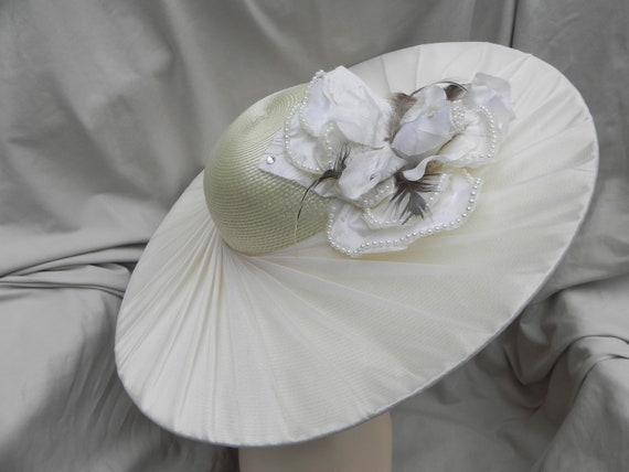 Ivory Wide Brimmed Synthetic Straw Hat, Derby Hat,