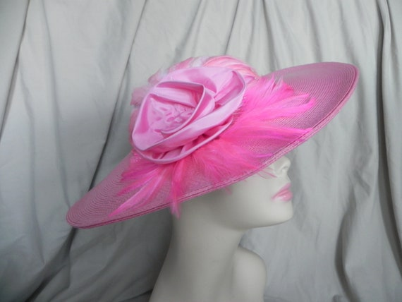 Pink Wide Brimmed Hat with Pink Feathers and Satin