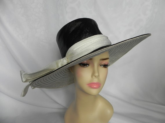 Black and White Henry Margu 1960's Wide Brim Hat S