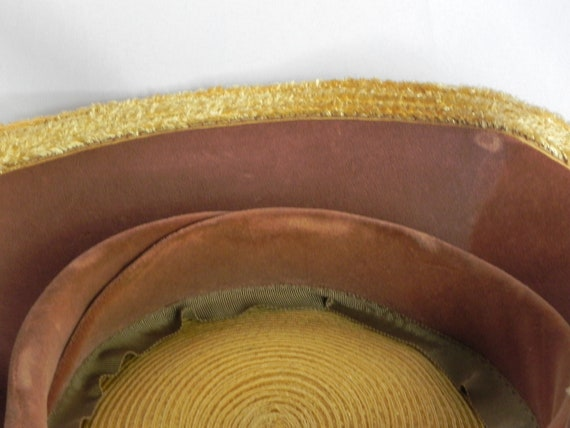 1940's or 50's Natural Straw Wavy Platter Hat, Wi… - image 9