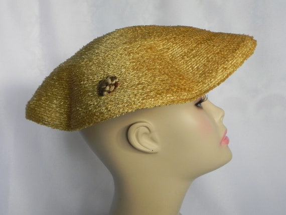 1940's or 50's Natural Straw Wavy Platter Hat, Wi… - image 3