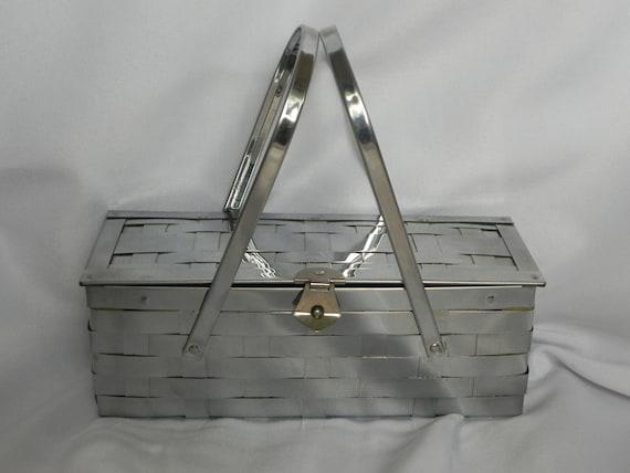 Silver Chrome Rectangular Basketweave Box Purse Ha
