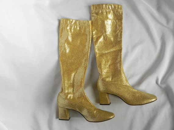 1960's Gold Lame' GoGo Boots Knee High Pull On Fas