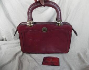 Etienne Aigner Vintage 1980's Burgundy Oxblood Leather Handbag Purse