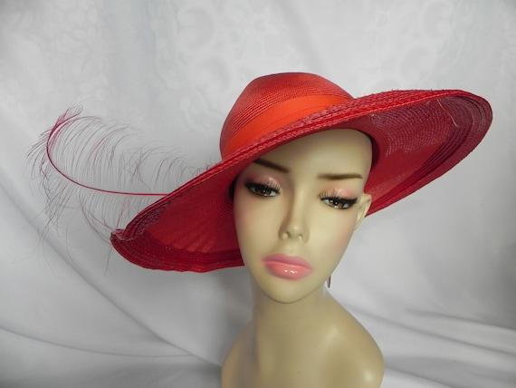 Vintage NWT Red Straw Wide Brim Fancy Hat Derby H… - image 2