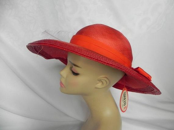 Vintage NWT Red Straw Wide Brim Fancy Hat Derby H… - image 5