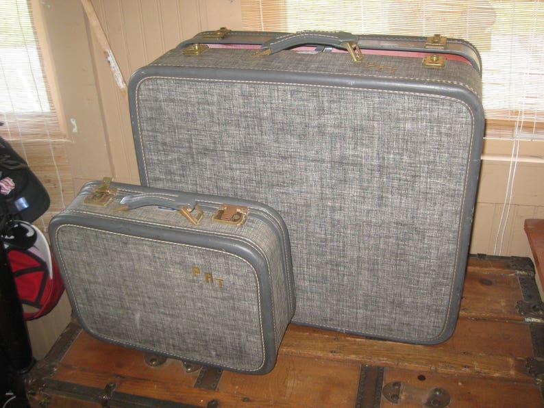 61c192bf3 Vintage Mid Century American Tourister Luggage set GREY TWEED   Etsy