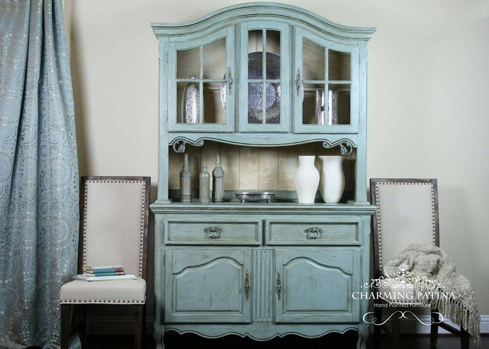 Fresh SOLD Hand Painted French Provincial Buffet & Hutch VN88