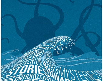 Sea and literature - Original drawing on literature about sea - Words' wave and an octopus silhouette - High quality giclee poster