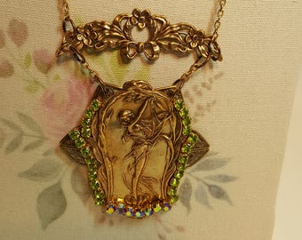 Re-purposed, upcycled assemblage vintage style drop nymph necklace