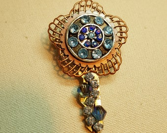 Re-purposed, upcycled assemblage vintage style key pin brooch