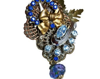 Re-purposed, upcycled assemblage vintage style pin brooch