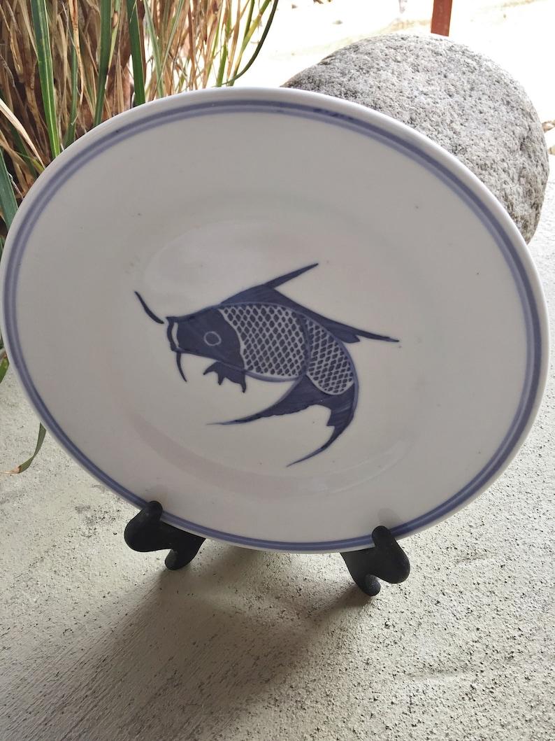 Vintage Blue White Porcelain Koi Fish 9 Inch Plate Mid Etsy