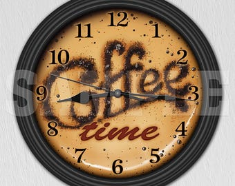 Coffee Time Decorative Wall Clock   Kitchen Decor   Coffee Shop Decor  ITEM#027