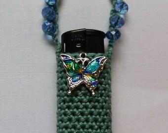 Butterfly kisses. Handmade crochet lightercozy.