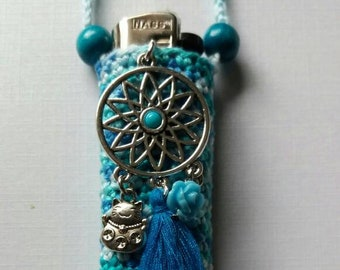 Blue dreams, handmade crochet lightercozy.