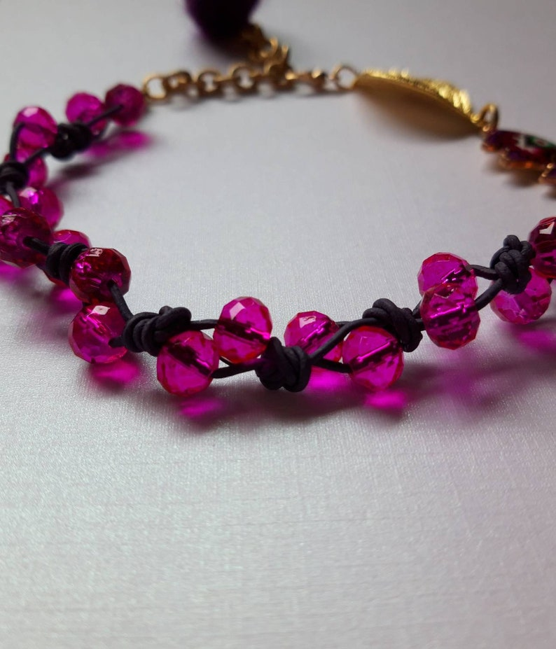 Hotpink /& lavender adjustable leather anklet with beads.