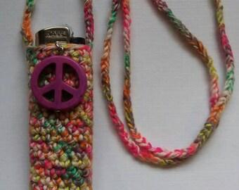 Happy to be a hippie. Handmade crochet lightercozy.