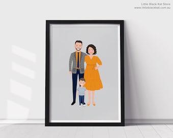 Family Portrait illustration | Custom family portrait cartoon drawing | Digital Portrait Illustration | Family Caricature Art