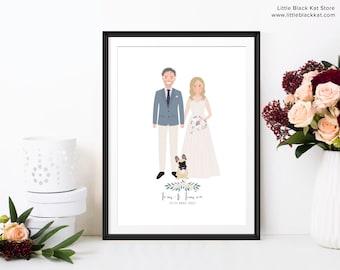 Wedding Portrait illustration | Custom drawn wedding or anniversary gift | Personalised wedding keepsake | Bride and Groom Illustration