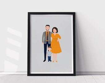 Family Portrait illustration   Custom family portrait cartoon drawing   Digital Portrait Illustration   Family Caricature Art