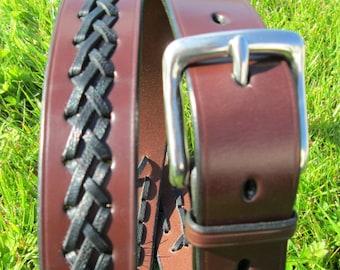Plaited bridle leather belt custom made