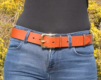 """Range of colours. 1 1/2"""" wide leather belt. Custom-made, hand-stitched."""