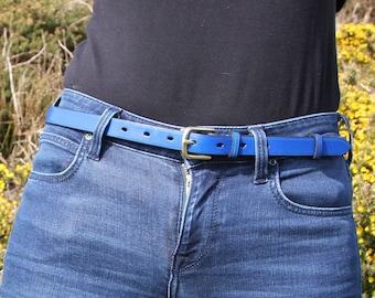 "Range of colours, 3/4"" bridle leather belt, custom-made, hand-stitched"
