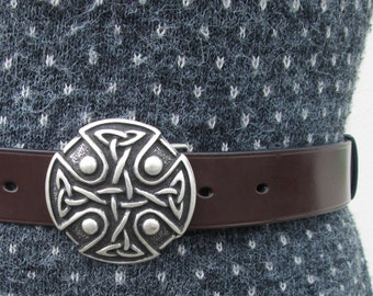 Celtic buckle leather belt, custom-made, hand-stitched