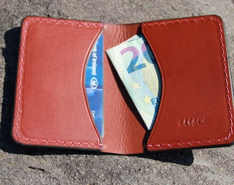 Folding card wallet, hand-stitched.