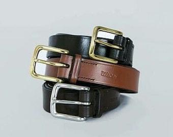 "Range of colours.1 1/4"" leather belt. Custom-made, hand-stitched."