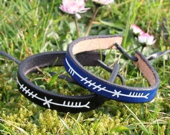 Neart (Strength) Ogham script leather bracelet