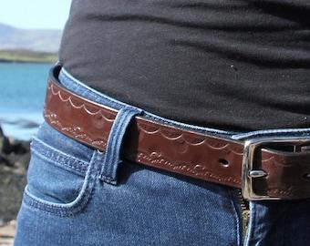 Stamped bridle leather belt custom made