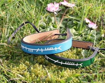 Anam Cara (Soul Friend) Ogham script leather bracelet, soul mate. Irish writing.