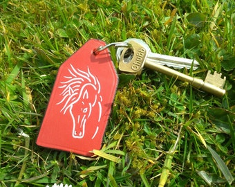 Horse head, leather keychain, hand-painted, personalised, custom made