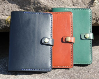 Passport cover, hand-stitched, custom made.
