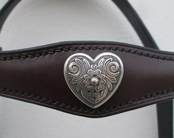 Browband Florentine heart, custom made, hand-stitched