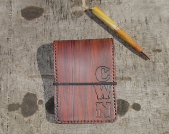 Personalized Leather Notebook Pocket Book  Cover Wood Appearance Gift