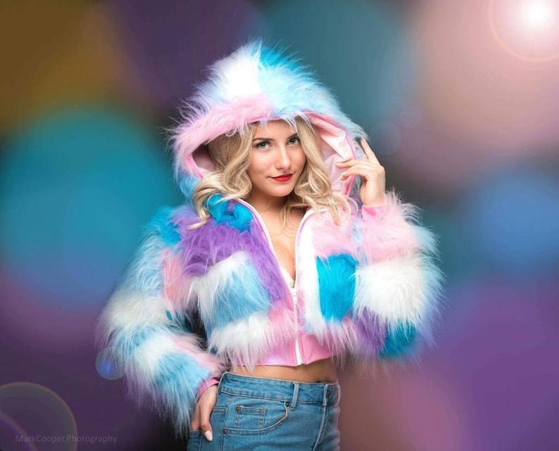 32dc217f7e05e Funki-B faux fur fluffy cozy jacket hoody zip up crop top | Etsy